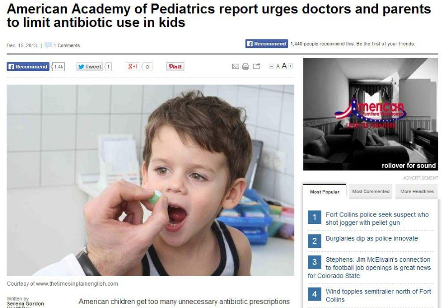 Lone Tree Pediatrician: AAP Suggests Limiting Antibiotic Use for Kids