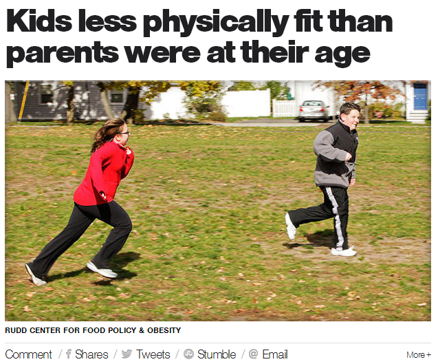 kids less physically fit than parents were at their age
