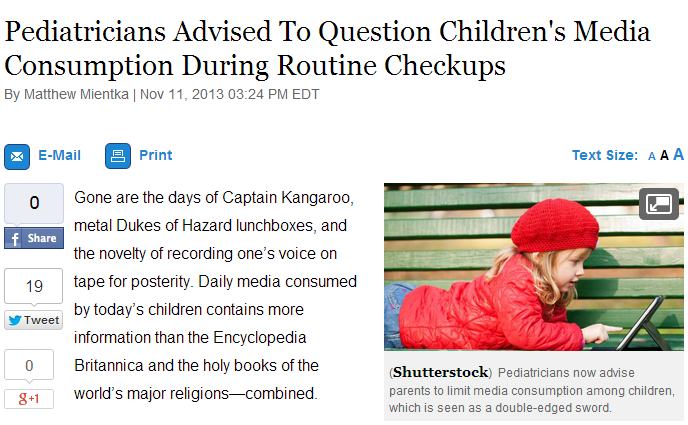 pediatricians advised to question childrens media consumption during routine checkups